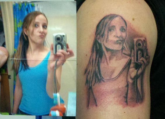 The girl who you can't believe agreed to ink a selfie.