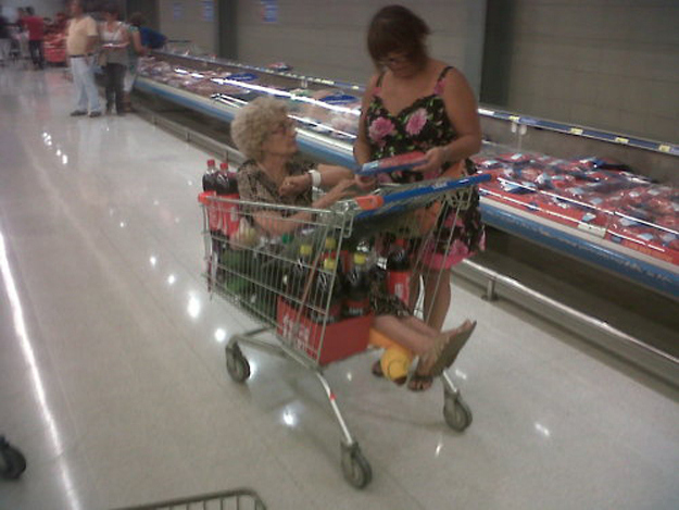 This grandma at the grocery store.