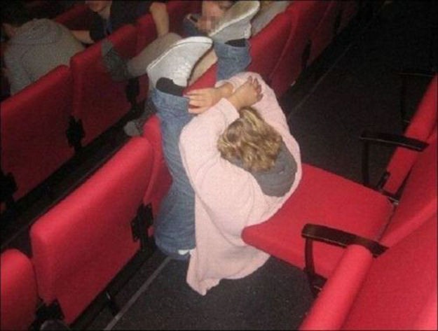 This woman who couldn't fit in her theater seat.