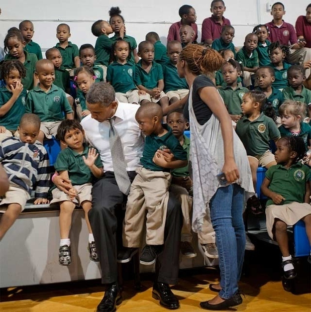 The kids who photobombed the President with a surprise kiss.