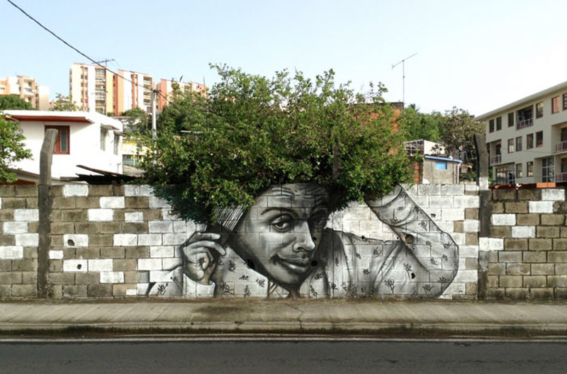 street art interacts with nature 1
